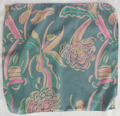 "Vintage floral pocket handkerchief Abstract flower power 12"" square hanky af"