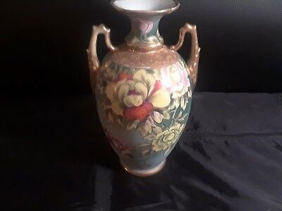 Nippon Light Blue Ceramic Vase With Rose Patterns and Gold Accents