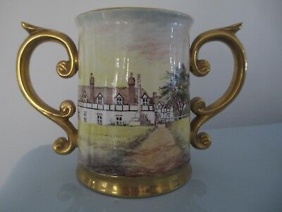 DUNHEVED HAND PAINTED LOVING CUP - HANLEY CASTLE by D WILSON Ex Royal Worcester
