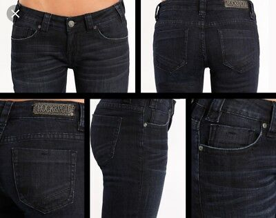 New Womens Rock and Roll Cowgirl Western Trouser Jeans  Dark 31 X 32