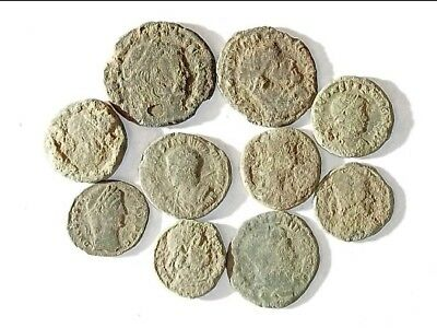 10 ANCIENT ROMAN COINS AE3 - Uncleaned and As Found! - Unique Lot 21139
