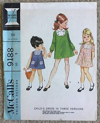 Vintage 1960's McCall's Child's 3 Version A Line Dress Cut Sewing Pattern 9188