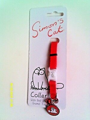 """simon's Cat"" Cat Collar With Bell And Enamel Tag - New -"