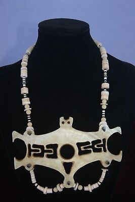 Solomon Islands Pendant Necklace Kina Shell 'Frigate Bird' w melon shell beads