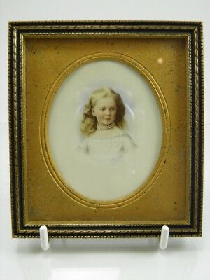 Antique late 19th century portrait miniature painting of a pretty young girl