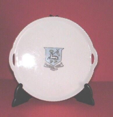 Crested China Round Tray two handles  PRESTON Crest