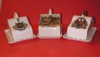 Crested China Cheeses Dishes Kendal , Dartmouth Church , Prince of Wales Crests