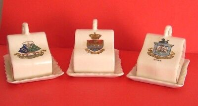 Crested China Cheeses Dishes Ryde , Tunbridge Wells , Rotherham Crests