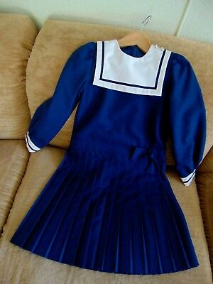 Gorgeous Vintage Girls sz 8 Sailor Dress 1960s Beautiful Condition Shabby Chic