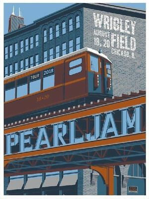 Pearl Jam Chicago Wrigley Field Poster 2018 Away Shows Steve Thomas