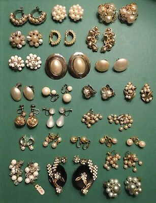 Vintage Faux Pearl Earrings Lot of 25 Pairs ESTATE COSTUME JEWELRY