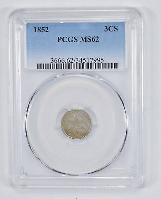 MS62 1852 Silver Three-Cent Piece - PCGS Graded *1799