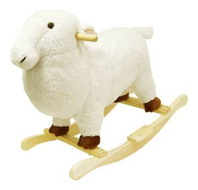 White Plush Lamb Rocking Animal Toy w Hardwood Frame [ID 20061]
