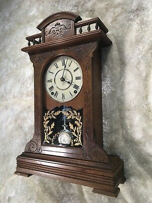 Rare 1882 Vtg Antique U.s.a Seth Thomas Wall Strikes Pendulum Clock Working