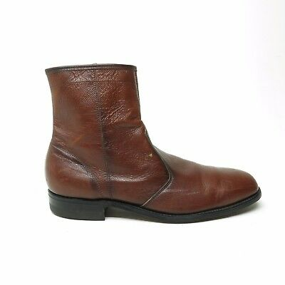 Vtg Mens Leather Ankle Boots Side Zip Beatle Rockabilly Union Made USA 11.5 D