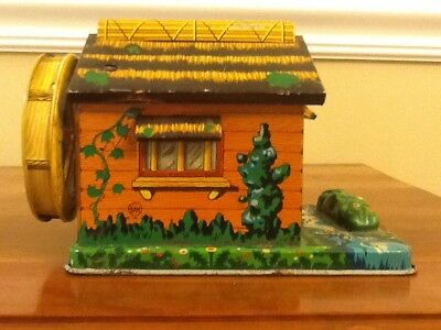 Vintage Tin Coin Bank Log Cabin Cottage w/ Water Wheel Piggy Made by SAN Japan