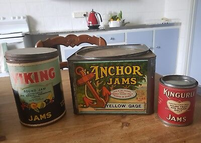 3 different jam tins..Old labels..newer tins