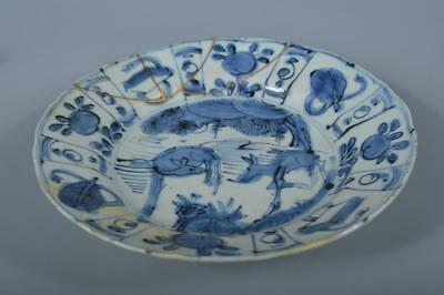 K5473: Chinese Old Pottery Blue&White Deer pattern ORNAMENTAL PLATE/Dish