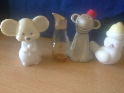 4 Collectable Avon bottles Mouse Monkey Penguin Bird