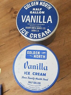 2 GOLDEN NORTH LAURA S.A...half gallon ice cream tins