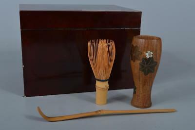 K8456: Japanese Wooden Lacquer ware TEA CEREMONY BOX Chashaku Spoon Chasen