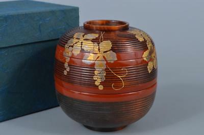 K8134: Japanese Wooden FOOD BOXES Jubako Leaf gold lacquer pattern Lunch box