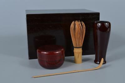 K8206: Japanese Wooden Lacquer ware TEA CEREMONY BOX Tea caddy Natsume