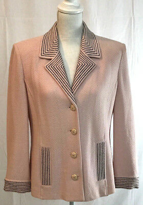 St. John Knits Pink Blazer Gold Accent Pearl Buttons USA Made Pre-Owned Size 10