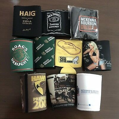 Bulk Lot 10 Assorted Beer Coolers Stubby Holders Varied Condition