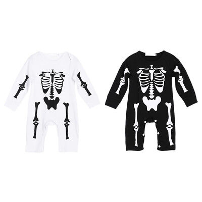 Newborn Baby Girl Boy Halloween Party Skeleton Rompers Bodysuit Outfits Clothes