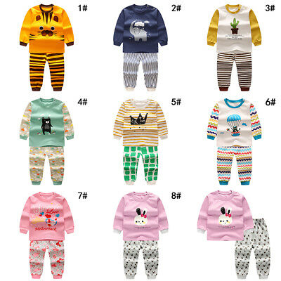 New Cute Set Kid Sleepwear Baby Pants Sleeve Pajamas Animals Long Round Child