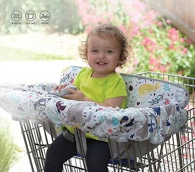 NEW Eddie Bauer Reversible Cart & High Chair Cover, White (plus 2 plush toys)