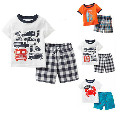 Cartoon T-shirt Boys Kids Summer Animal Pants Clothes Tee + Shorts Outfits Set
