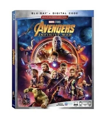 AVENGERS: INFINITY WAR BLU-RAY DISC+Digital Code w/ CASE & SLIPCOVER!