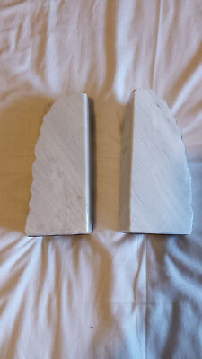 White marble bookends, 22cm high, good condition