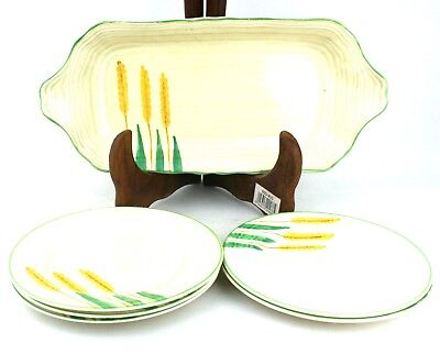 Early 20th C. Crown Ducal Sandwich Plate + 5 Plates Wheat Stalks c.1930's