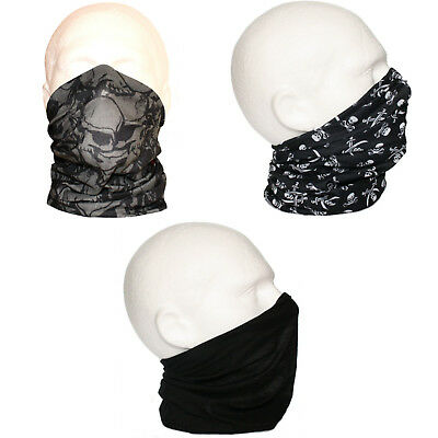 3 pack Neck Tube Snood Scarf Ski Face Mask Biker Outdoor Sport Black Grey Skulls
