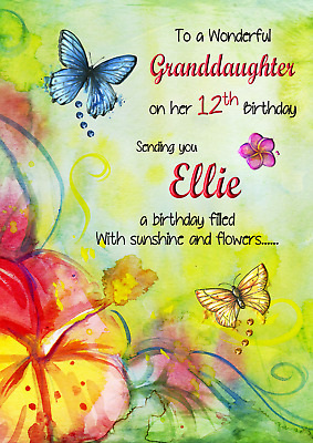 Butterfly flowers personalised A5 birthday card niece granddaughter name age