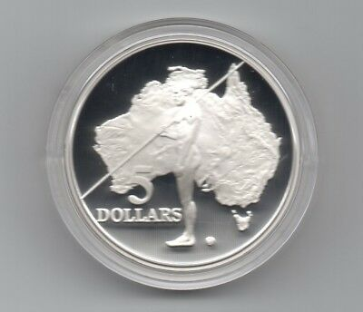 1993 Australia Aboriginal Hunter $5 Silver Coin 1.2 Oz From Masterpieces Set