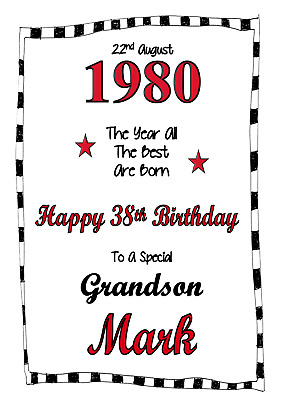 Year Date personalised A5 birthday card Son Daughter Nephew Niece Grandson Name