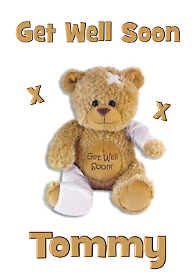Bear personalised A5 Get well soon card Son Daughter Nephew Niece Grandson Name