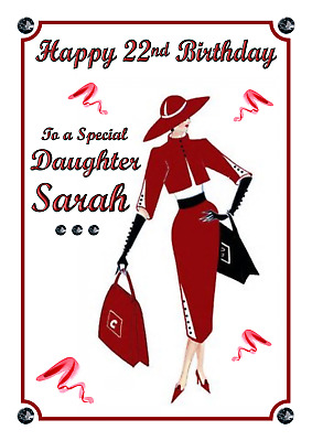 Lady Vintage Art Deco personalised A5 Birthday card Daughter Sister Name Age