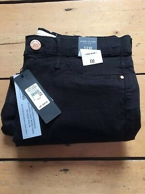 River Island Molly Mid Rise Black Jegging Jeans. New. 12R
