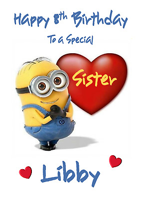 Minions Personalised A5 Birthday Card Daughter Son Sister Niece Nephew Name Age