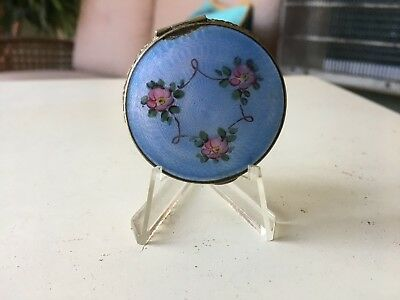 Vintage Antique Blue Enamel Compact With Pink Roses Compact