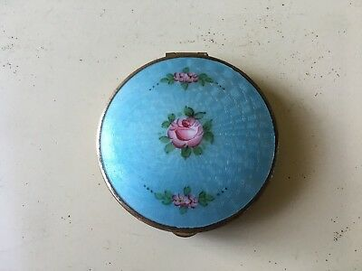 Vintage Blue With Floral Enamel Compact