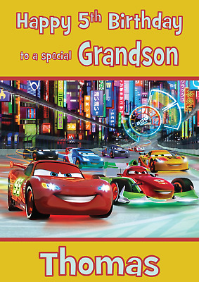 Cars Personalised A5 Birthday Card Son Nephew Grandson Brother Name Age