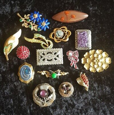 Vintage  Job Lot Of 15 Brooches/fur Clip  .two Signed 'mizpah '.