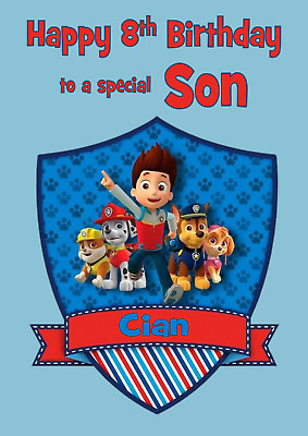 PAW PATROL PERSONALISED A5 Birthday Card Son Grandson Brother Nephew Name Age