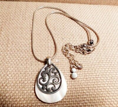 Brighton Silver + Mother of Pearl Tear Drop Pendent  Chain Necklace